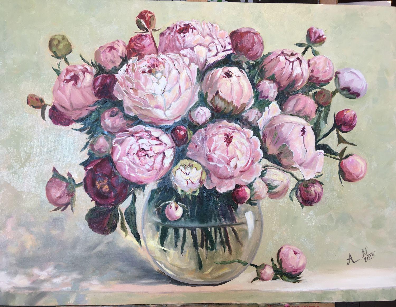 Картина маслом «Пионы в вазе» 80x60 см, Картины, Санкт-Петербург,  Фото №1
