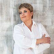 Блузки ручной работы. Ярмарка Мастеров - ручная работа Белая Рубашка в мужском стиле большой размер лен. Handmade.