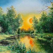 Картины и панно handmade. Livemaster - original item Oil painting Landscape _ Orange zakat Author`s picture. Handmade.