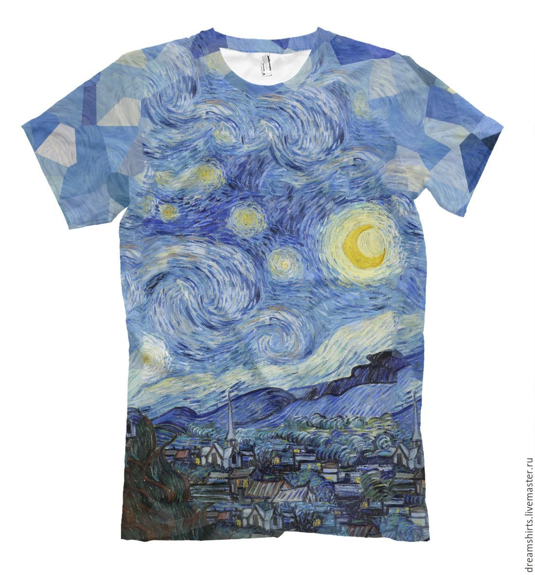 T-shirt with a print of 'Starry Night - van Gogh', T-shirts and undershirts for men, Moscow,  Фото №1