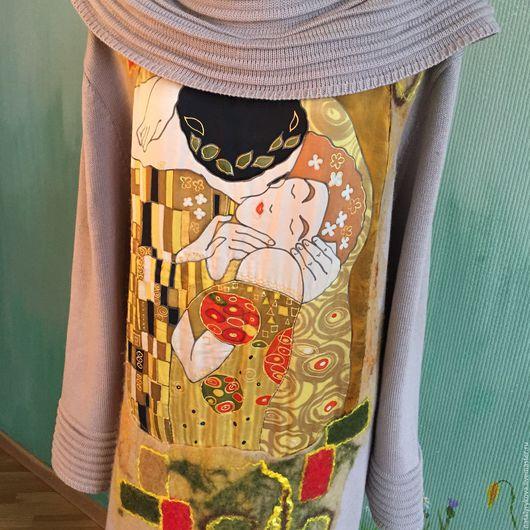 Большие размеры ручной работы. Ярмарка Мастеров - ручная работа. Купить Поцелуй Климт Платье ХХL. Handmade. Платье