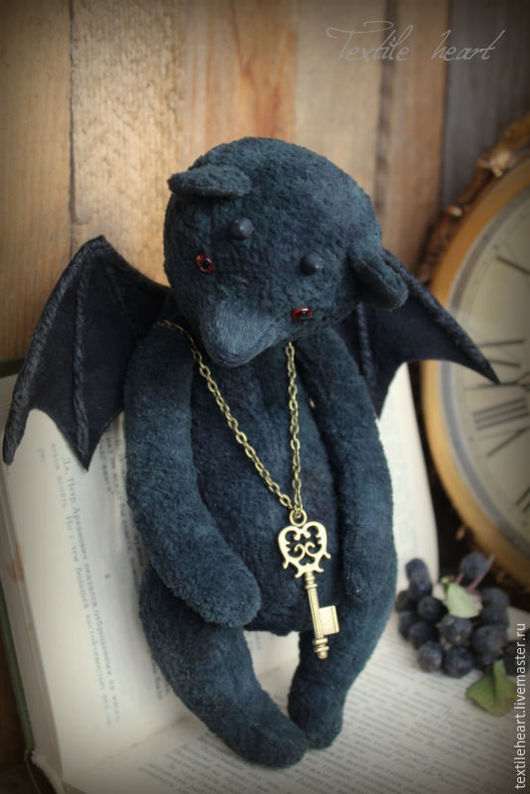 Мишки Тедди ручной работы. Ярмарка Мастеров - ручная работа. Купить Demon Bear.... Handmade. Черный, демоны, textile heart