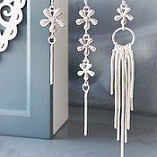 Украшения handmade. Livemaster - original item A set of three earrings flowers silver asymmetrical earrings. Handmade.
