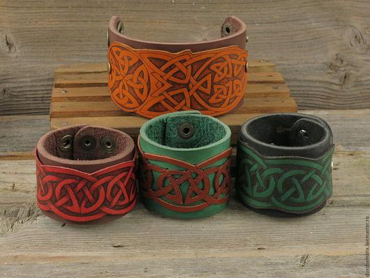Браслеты ручной работы. Ярмарка Мастеров - ручная работа. Купить Браслет кельтский. Handmade. Комбинированный, кожа натуральная, выжигание