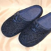 """Обувь ручной работы. Ярмарка Мастеров - ручная работа Тапки валяные мужские """"Джинс"""". Handmade."""
