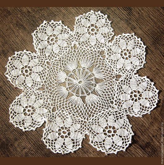 """Текстиль, ковры ручной работы. Ярмарка Мастеров - ручная работа. Купить салфетка вязаная крючком """"Ромашки"""", салфетка ажурная, белый. Handmade."""