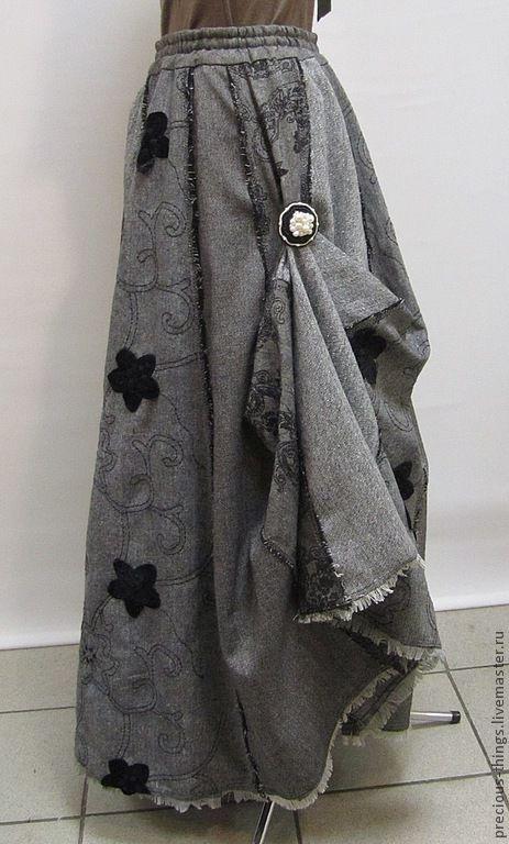 """Юбки ручной работы. Ярмарка Мастеров - ручная работа. Купить Макси юбка """"4 твида"""". Handmade. Темно-серый, бохо"""