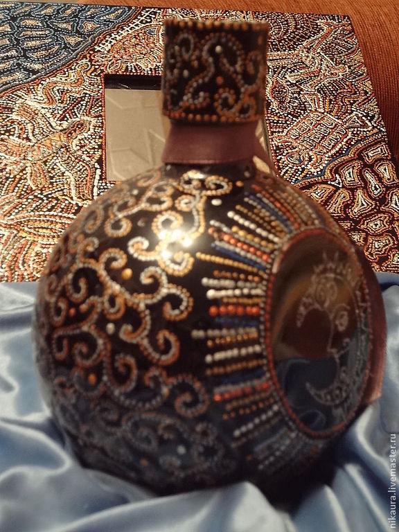 Подарочный комплект  зеркало и бутылка под коньяк Золото инков, Оформление бутылок, Москва,  Фото №1