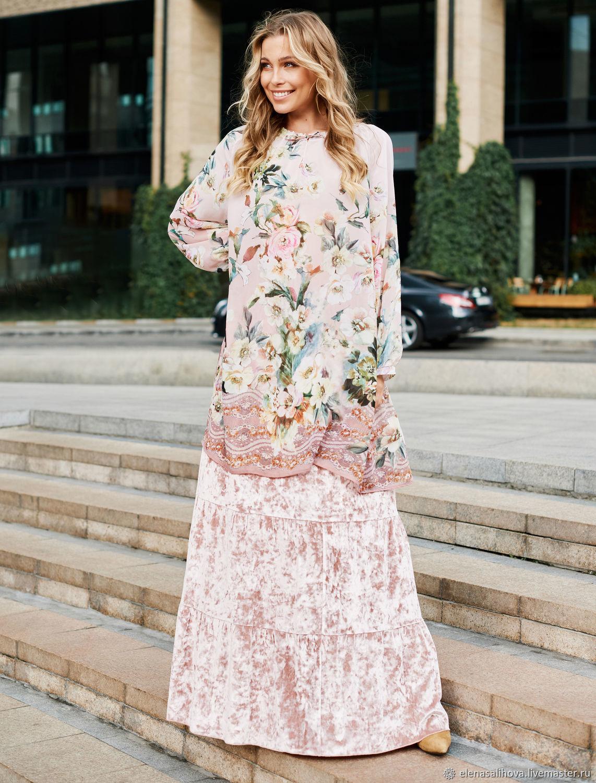 Блузка-туника Цветы Японии, Блузки, Москва,  Фото №1