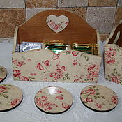 """Для дома и интерьера ручной работы. Ярмарка Мастеров - ручная работа Короб для чая + подставки  """"Ранняя весна"""". Handmade."""