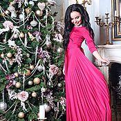 Одежда ручной работы. Ярмарка Мастеров - ручная работа СКИДКА 30% Длинное платье с рукавами фуксия, ярко розовое платье в пол. Handmade.