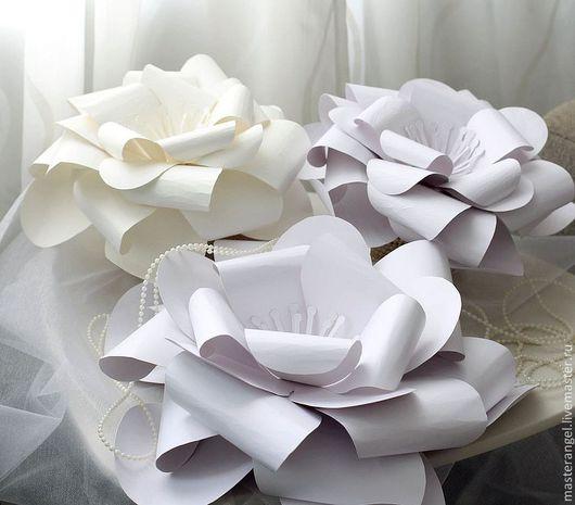 Свадебные аксессуары ручной работы. Ярмарка Мастеров - ручная работа. Купить Бумажные цветы для свадебного декора. Handmade. Белый