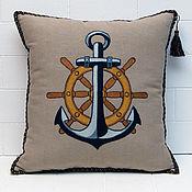 Для дома и интерьера handmade. Livemaster - original item Pillow with embroidery in marine style Anchor and steering Wheel. Handmade.
