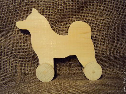 Собака-каталка Лайка (большая), деревянная игрушка ручной работы