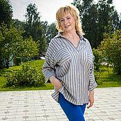 Одежда handmade. Livemaster - original item Men`s oversize viscose striped shirt. Handmade.