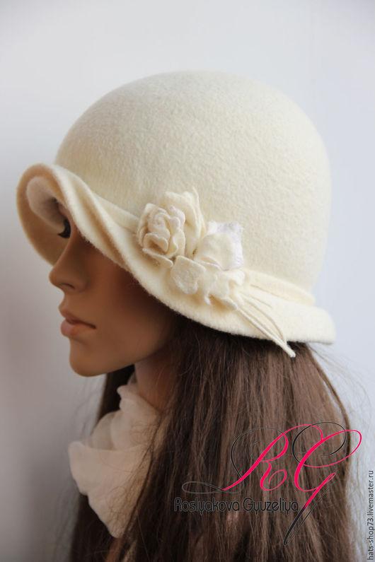 Шляпы ручной работы. Ярмарка Мастеров - ручная работа. Купить Валяная шляпка Winter flower. Handmade. Белый, женская шляпка