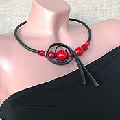 Украшения handmade. Livemaster - original item Necklace of red coral on rubber, stylish decoration on the neck. Handmade.