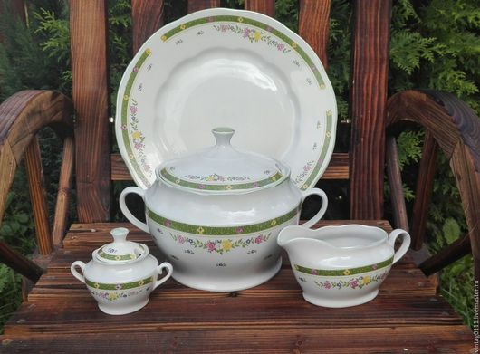 ...по-летнему солнечный и лучистый, фарфоровый набор посуды, производства старинного фз. Дулево, времен Советского Союза!!!