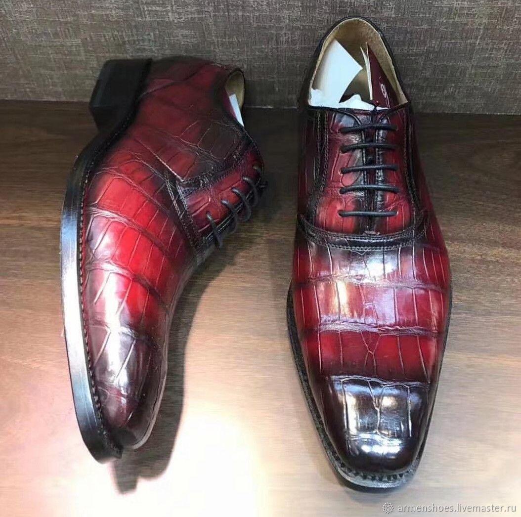 Туфли мужские, классические из кожи аллигатора, в красном цвете, Обувь, Тосно, Фото №1