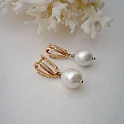 Украшения handmade. Livemaster - original item Pearl white pearl earrings, earrings with white pearls. Handmade.