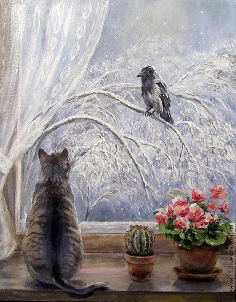 Животные ручной работы. Ярмарка Мастеров - ручная работа. Купить Февраль. Handmade. Кот, ворона, зима, окно, картина в подарок