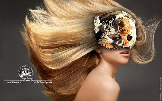 """Интерьерные  маски ручной работы. Ярмарка Мастеров - ручная работа. Купить """"Дочь Марса"""". Полумаска фантазийная. Handmade. Черный, полумаска"""