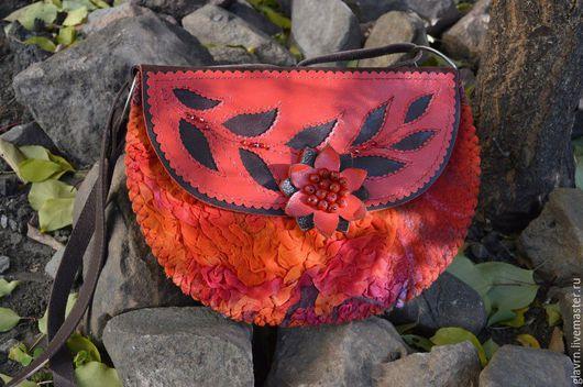 """Женские сумки ручной работы. Ярмарка Мастеров - ручная работа. Купить Сумка """"Red"""". Handmade. Ярко-красный, сумка с цветами"""