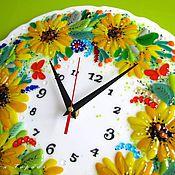 Для дома и интерьера handmade. Livemaster - original item watch glass, fusing Sunflowers. Handmade.