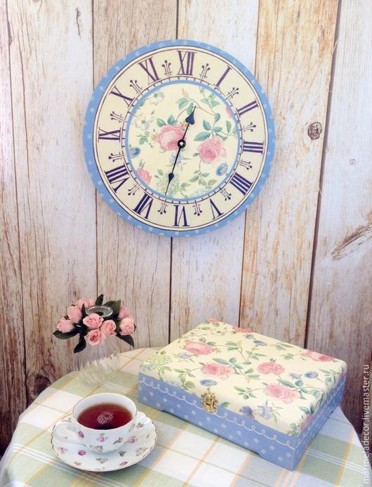 """Кухня ручной работы. Ярмарка Мастеров - ручная работа. Купить Комплект часы и шкатулка для чая """"Нежные розы"""". Handmade. романтика"""