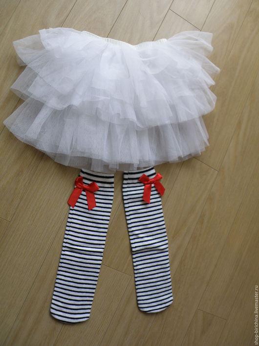 Одежда для девочек, ручной работы. Ярмарка Мастеров - ручная работа. Купить Юбочка фатиновая и гольфы в полоску. Handmade. Фатиновая юбочка