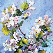 Картины и панно handmade. Livemaster - original item Flowering Apple tree branch painting Reproduction print. Handmade.