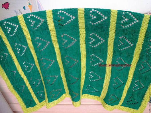 """Текстиль, ковры ручной работы. Ярмарка Мастеров - ручная работа. Купить Плед детский летний""""Сердечки"""" ( ручная вязка, хлопок). Handmade."""