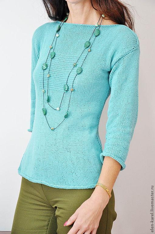 Кофты и свитера ручной работы. Ярмарка Мастеров - ручная работа. Купить Весенняя зелень Свитер из хлопка. Handmade. Мятный