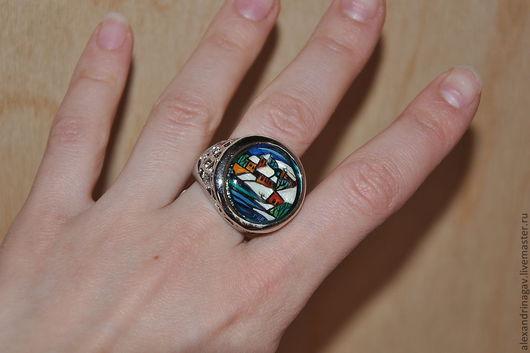 """Кольца ручной работы. Ярмарка Мастеров - ручная работа. Купить Кольцо.""""Зимний пейзаж."""". Handmade. Тёмно-синий, лак"""