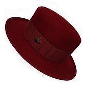 Аксессуары ручной работы. Ярмарка Мастеров - ручная работа Женская фетровая шляпа канотье  КОЛЕТТ  темно-красного цвета. Handmade.