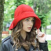 Аксессуары handmade. Livemaster - original item Wide-Brimmed suede women`s hat red with large brim. Handmade.