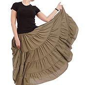 """Одежда ручной работы. Ярмарка Мастеров - ручная работа Ярусная юбка """"Хаки"""". Handmade."""