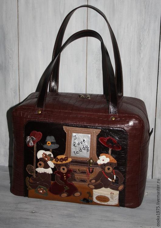 """Женские сумки ручной работы. Ярмарка Мастеров - ручная работа. Купить Женская кожаная сумка """"Модные мишки Тедди"""". Handmade."""
