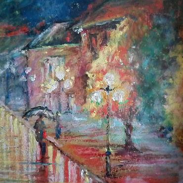 """Картины и панно ручной работы. Ярмарка Мастеров - ручная работа Городской пейзаж в подарок,масляная пастель""""Рыжий дождь"""". Handmade."""