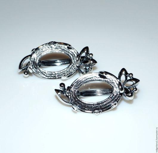 """Для украшений ручной работы. Ярмарка Мастеров - ручная работа. Купить Основа для серег """"Валерия""""(18х13) - серебрение 925 пробы. Handmade."""
