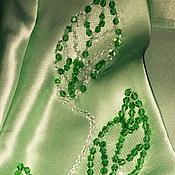 Платья ручной работы. Ярмарка Мастеров - ручная работа Платье шелковое салатового оттенка переходящего в зеленый Green silk. Handmade.