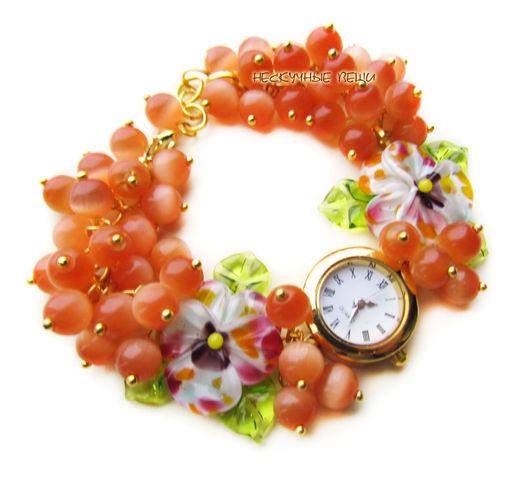 """Часы ручной работы. Ярмарка Мастеров - ручная работа. Купить """"Яркая осень"""" часы с бусинами лэмпворк. Handmade. Часы"""