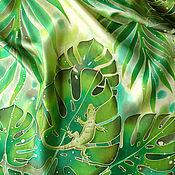"""Аксессуары handmade. Livemaster - original item Батик шарф-палантин """"Тропический"""" шелковый. Handmade."""