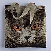 """Классическая сумка ручной работы. Ярмарка Мастеров - ручная работа Сумка женская гобеленовая """"Британский кот"""" большая на плечо. Handmade."""