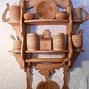 Для дома и интерьера ручной работы. Ярмарка Мастеров - ручная работа полка с кухонной деревянной посудой. Handmade.