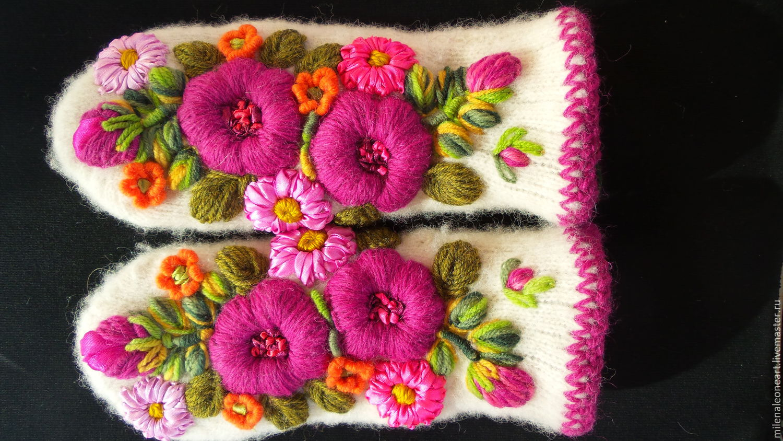 Объемная вышивка на варежках своими руками схемы фото 686