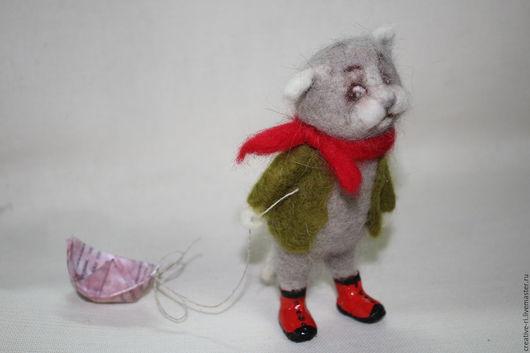 Коллекционные куклы ручной работы. Ярмарка Мастеров - ручная работа. Купить Котик с корабликом. Handmade. Комбинированный, котик валяный