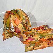Аксессуары handmade. Livemaster - original item Silk scarf batik Autumn leaves. Handmade.