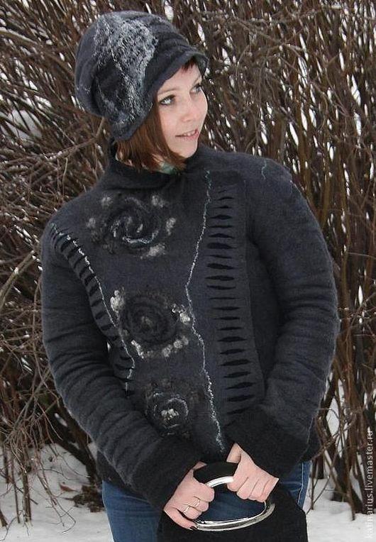 """Верхняя одежда ручной работы. Ярмарка Мастеров - ручная работа. Купить Куртка валяная """" Рокенролл"""". Handmade. Темно-серый"""