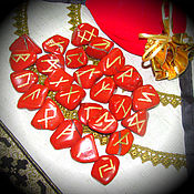 Фен-шуй и эзотерика handmade. Livemaster - original item Nordic runes made of red Jasper,set. Handmade.